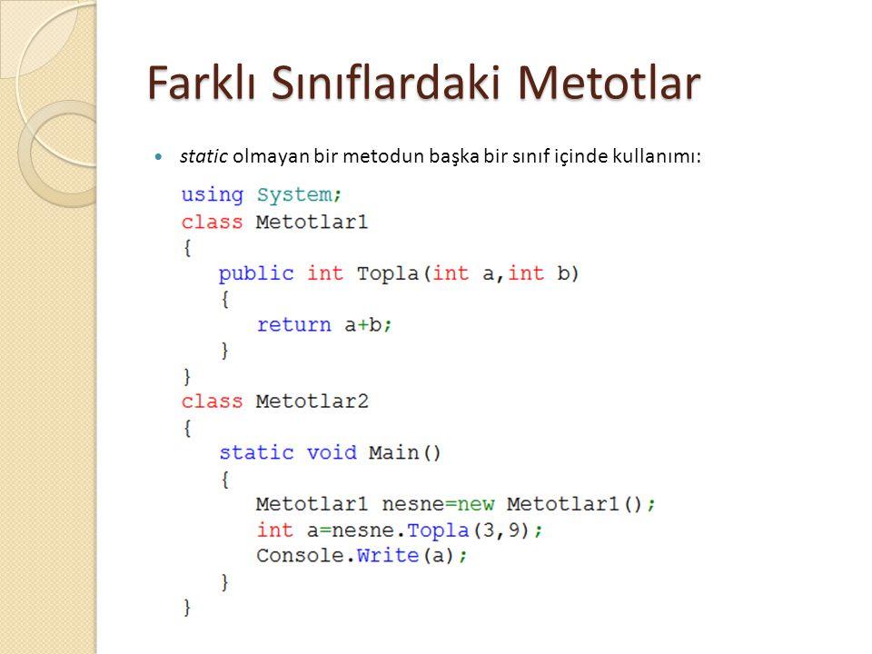 Farklı Sınıflardaki Metotlar static olmayan bir metodun başka bir sınıf içinde kullanımı: