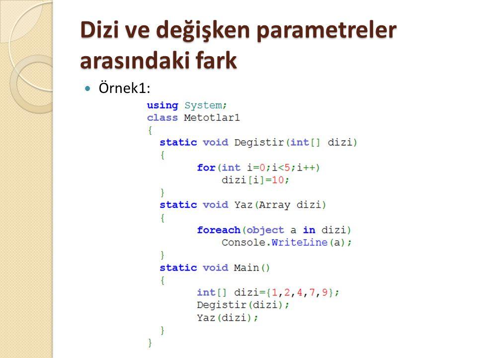 Dizi ve değişken parametreler arasındaki fark Örnek1: