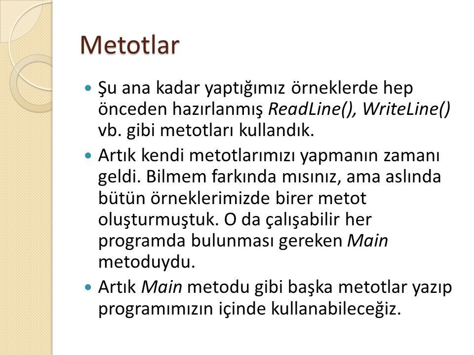 Metotlar Şu ana kadar yaptığımız örneklerde hep önceden hazırlanmış ReadLine(), WriteLine() vb. gibi metotları kullandık. Artık kendi metotlarımızı ya