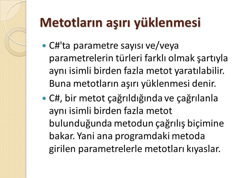 Metotların aşırı yüklenmesi C#'ta parametre sayısı ve/veya parametrelerin türleri farklı olmak şartıyla aynı isimli birden fazla metot yaratılabilir.