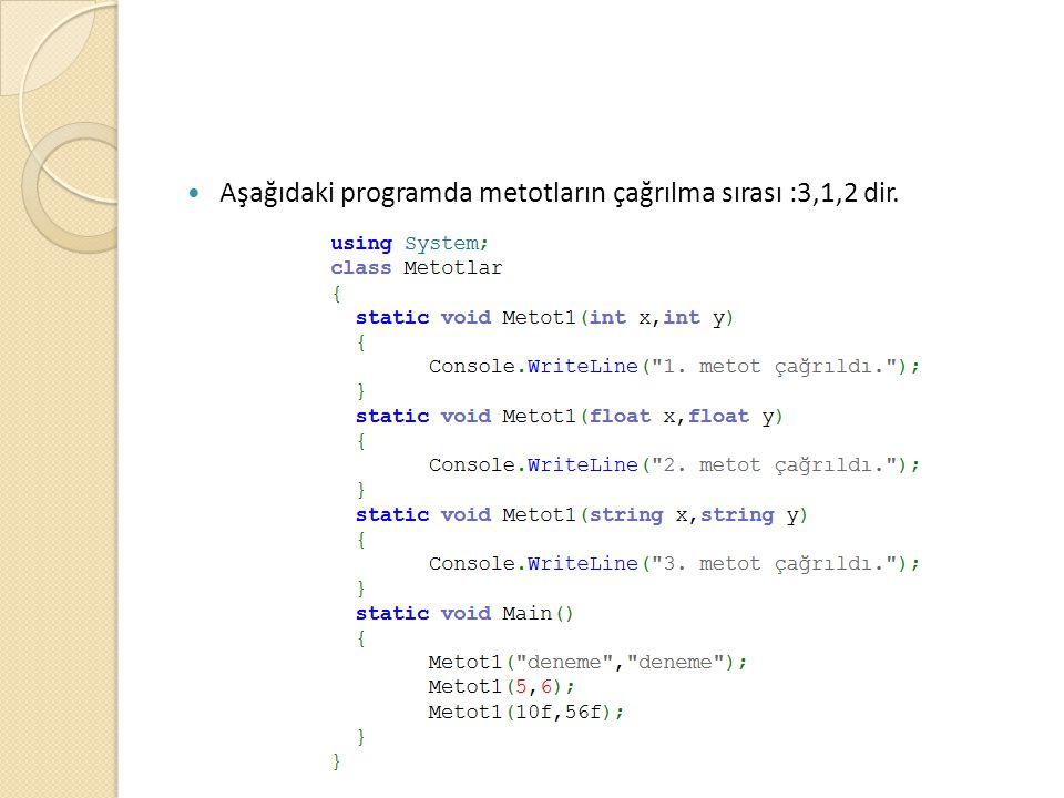 Aşağıdaki programda metotların çağrılma sırası :3,1,2 dir.