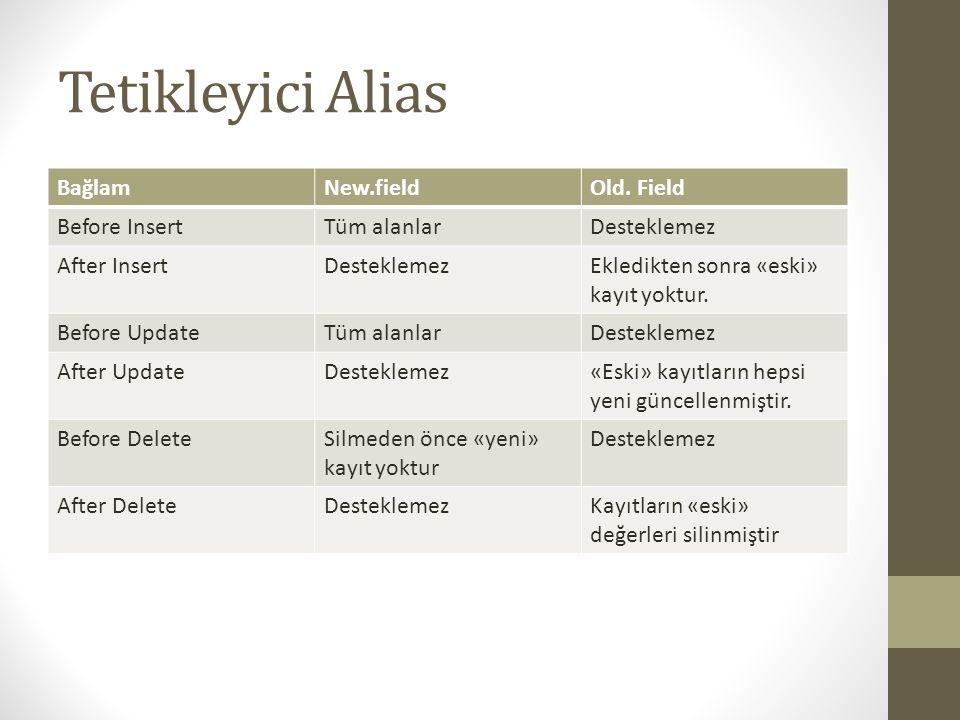 Tetikleyici Alias BağlamNew.fieldOld.