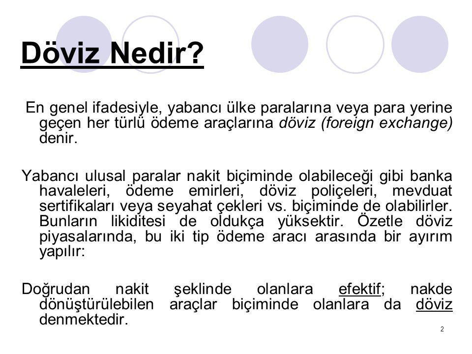 2 Döviz Nedir? En genel ifadesiyle, yabancı ülke paralarına veya para yerine geçen her türlü ödeme araçlarına döviz (foreign exchange) denir. Yabancı