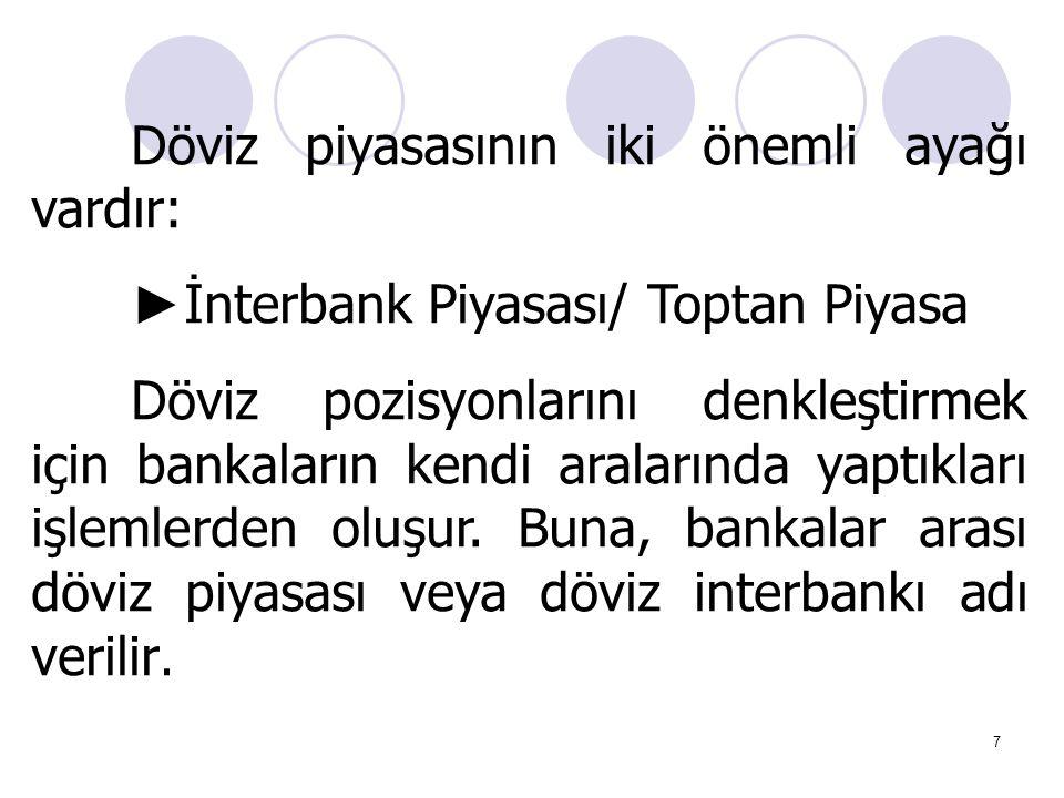 7 Döviz piyasasının iki önemli ayağı vardır: ► İnterbank Piyasası/ Toptan Piyasa Döviz pozisyonlarını denkleştirmek için bankaların kendi aralarında y