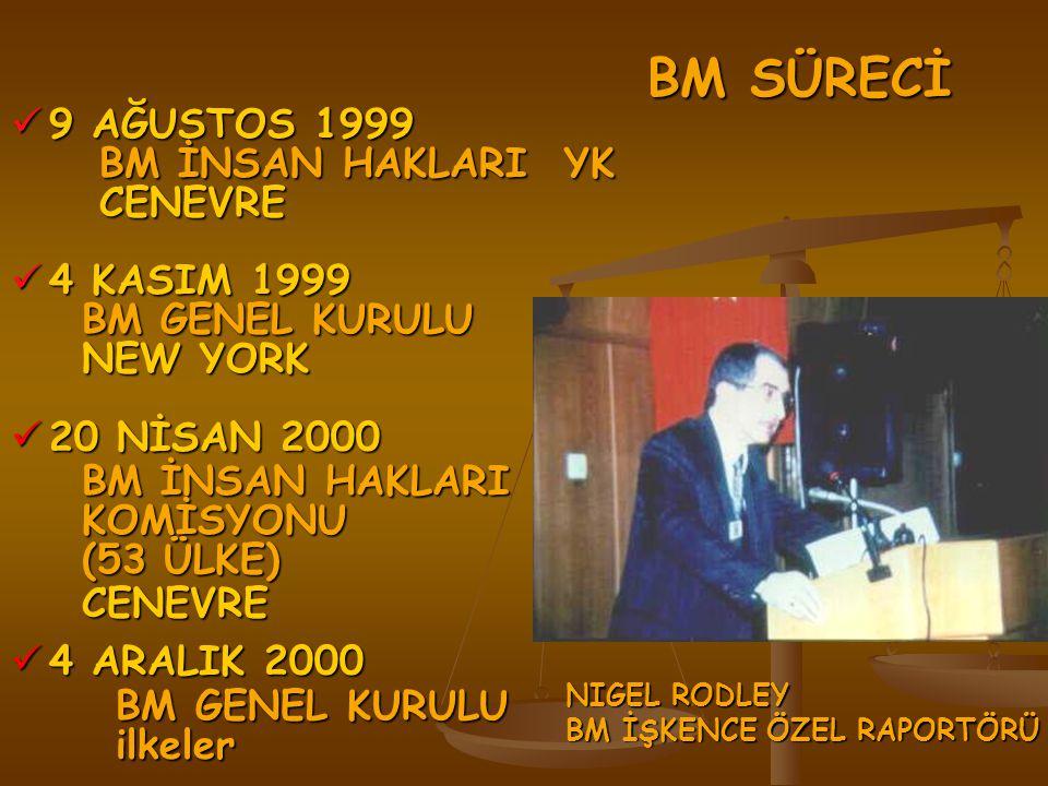BM SÜRECİ BM SÜRECİ 9 AĞUSTOS 1999 9 AĞUSTOS 1999 BM İNSAN HAKLARI YK BM İNSAN HAKLARI YK CENEVRE CENEVRE 4 KASIM 1999 4 KASIM 1999 BM GENEL KURULU BM GENEL KURULU NEW YORK NEW YORK 20 NİSAN 2000 20 NİSAN 2000 BM İNSAN HAKLARI BM İNSAN HAKLARI KOMİSYONU KOMİSYONU (53 ÜLKE) (53 ÜLKE) CENEVRE CENEVRE 4 ARALIK 2000 4 ARALIK 2000 BM GENEL KURULU ilkeler NIGEL RODLEY BM İŞKENCE ÖZEL RAPORTÖRÜ
