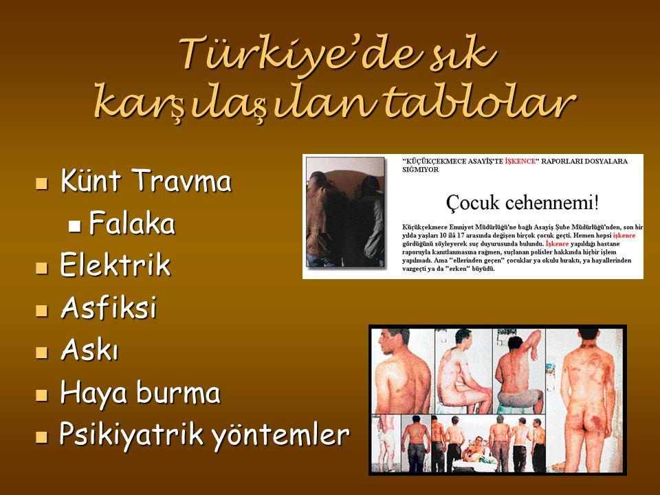 Türkiye'de sık kar ş ıla ş ılan tablolar Künt Travma Künt Travma Falaka Falaka Elektrik Elektrik Asfiksi Asfiksi Askı Askı Haya burma Haya burma Psikiyatrik yöntemler Psikiyatrik yöntemler