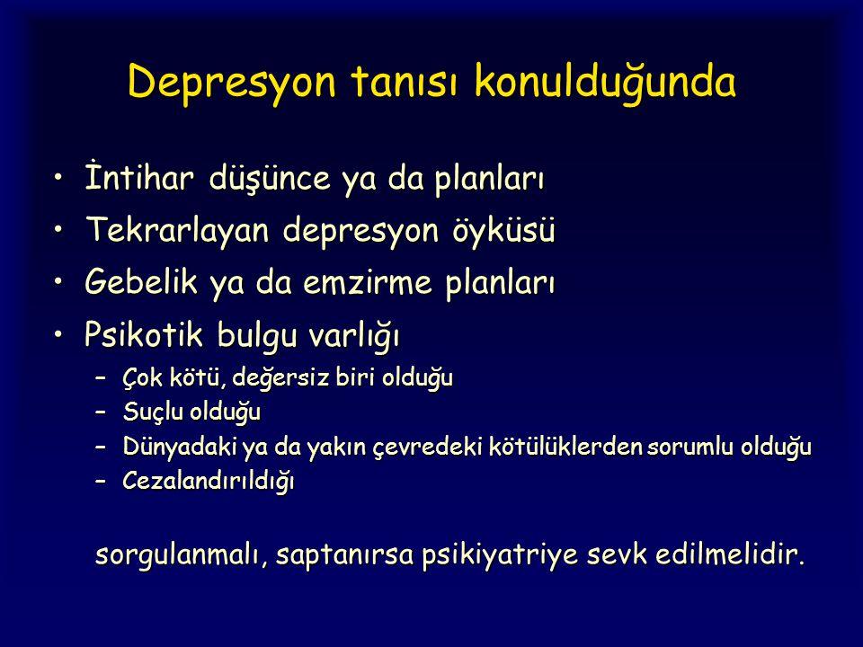 Depresyon tanısı konulduğunda İntihar düşünce ya da planlarıİntihar düşünce ya da planları Tekrarlayan depresyon öyküsüTekrarlayan depresyon öyküsü Ge
