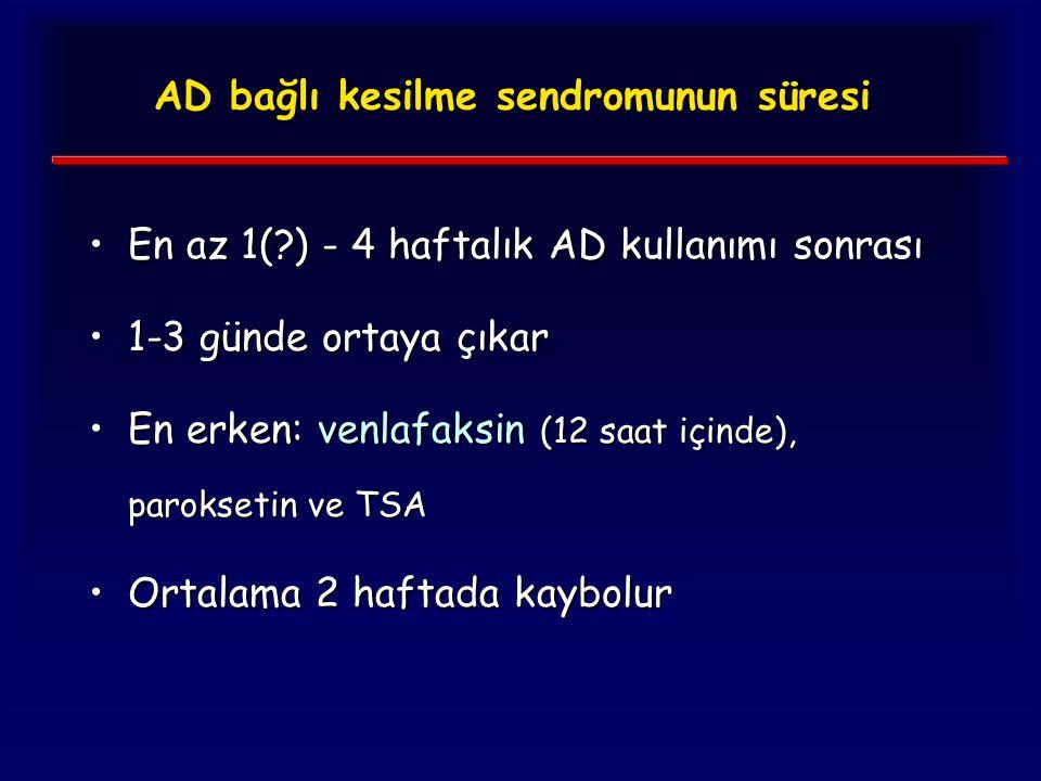 AD bağlı kesilme sendromunun süresi En az 1(?) - 4 haftalık AD kullanımı sonrasıEn az 1(?) - 4 haftalık AD kullanımı sonrası 1-3 günde ortaya çıkar1-3