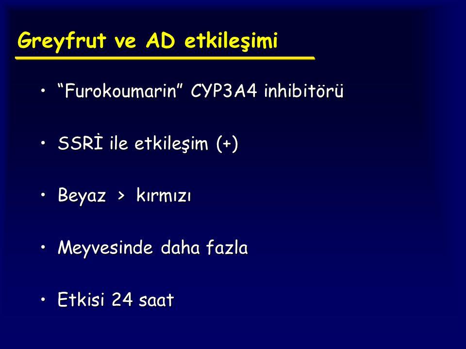 """Greyfrut ve AD etkileşimi """"Furokoumarin"""" CYP3A4 inhibitörü""""Furokoumarin"""" CYP3A4 inhibitörü SSRİ ile etkileşim (+)SSRİ ile etkileşim (+) Beyaz > kırmız"""
