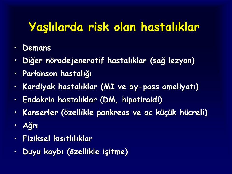 Yaşlılarda risk olan hastalıklar DemansDemans Diğer nörodejeneratif hastalıklar (sağ lezyon)Diğer nörodejeneratif hastalıklar (sağ lezyon) Parkinson h