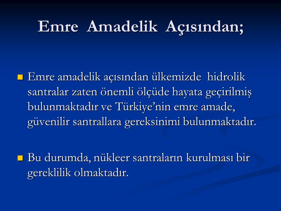 Emre Amadelik Açısından; Emre amadelik açısından ülkemizde hidrolik santralar zaten önemli ölçüde hayata geçirilmiş bulunmaktadır ve Türkiye'nin emre