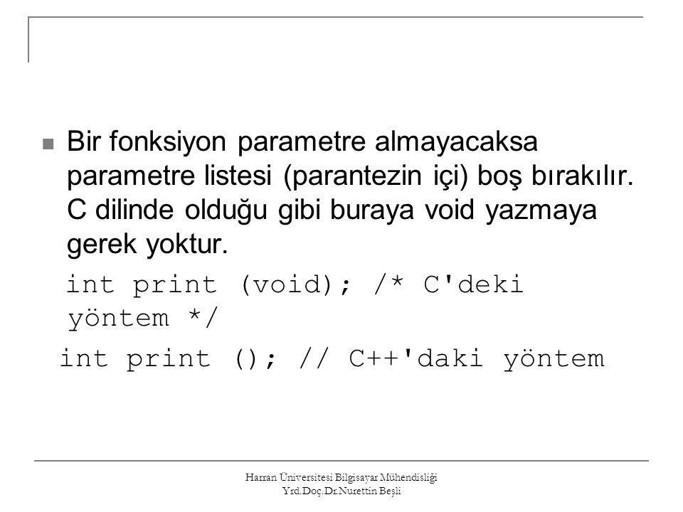 Harran Üniversitesi Bilgisayar Mühendisliği Yrd.Doç.Dr.Nurettin Beşli Bir fonksiyon parametre almayacaksa parametre listesi (parantezin içi) boş bırak