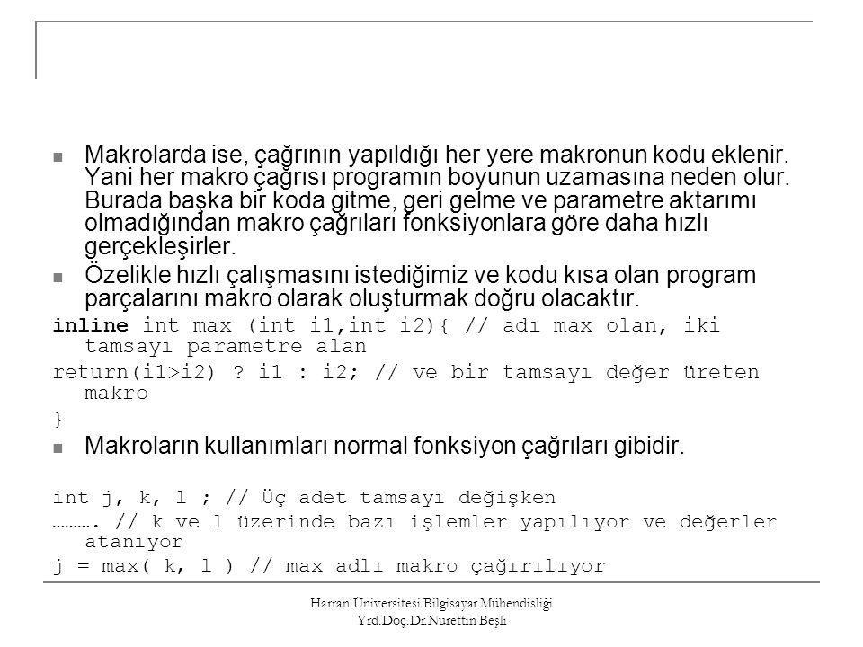 Harran Üniversitesi Bilgisayar Mühendisliği Yrd.Doç.Dr.Nurettin Beşli Makrolarda ise, çağrının yapıldığı her yere makronun kodu eklenir. Yani her makr