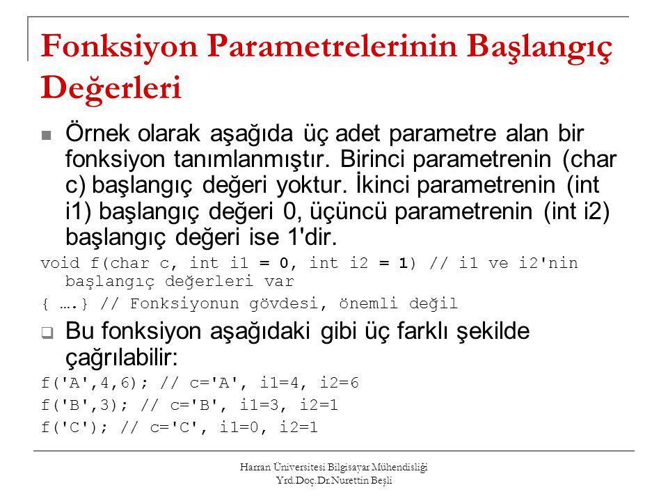 Harran Üniversitesi Bilgisayar Mühendisliği Yrd.Doç.Dr.Nurettin Beşli Fonksiyon Parametrelerinin Başlangıç Değerleri Örnek olarak aşağıda üç adet para