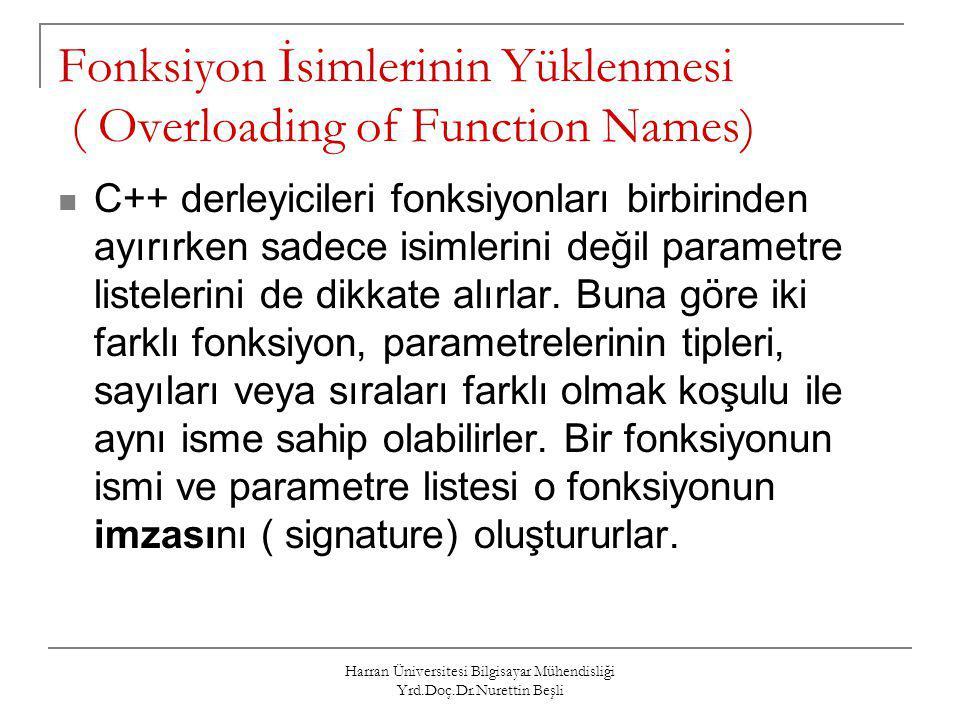 Harran Üniversitesi Bilgisayar Mühendisliği Yrd.Doç.Dr.Nurettin Beşli Fonksiyon İsimlerinin Yüklenmesi ( Overloading of Function Names) C++ derleyicil