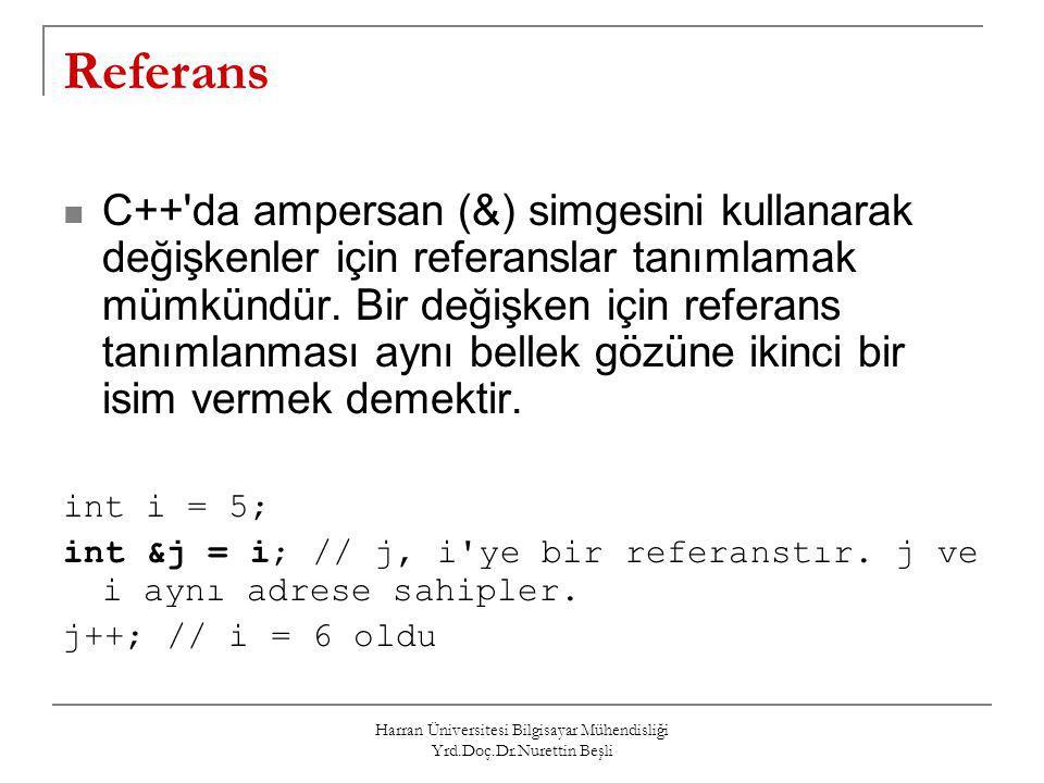 Harran Üniversitesi Bilgisayar Mühendisliği Yrd.Doç.Dr.Nurettin Beşli Referans C++'da ampersan (&) simgesini kullanarak değişkenler için referanslar t