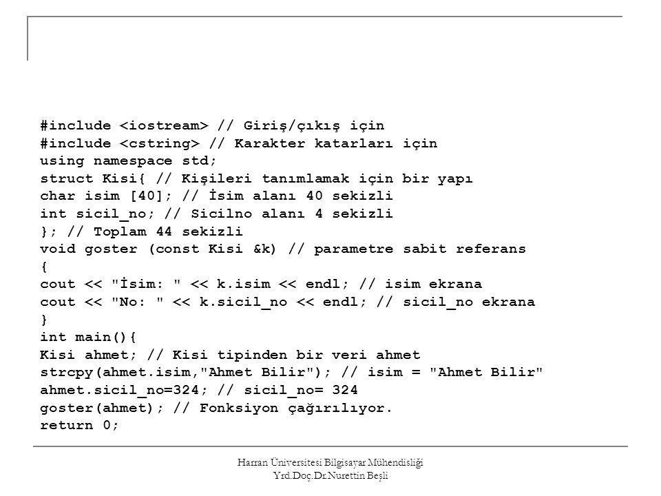 Harran Üniversitesi Bilgisayar Mühendisliği Yrd.Doç.Dr.Nurettin Beşli #include // Giriş/çıkış için #include // Karakter katarları için using namespace