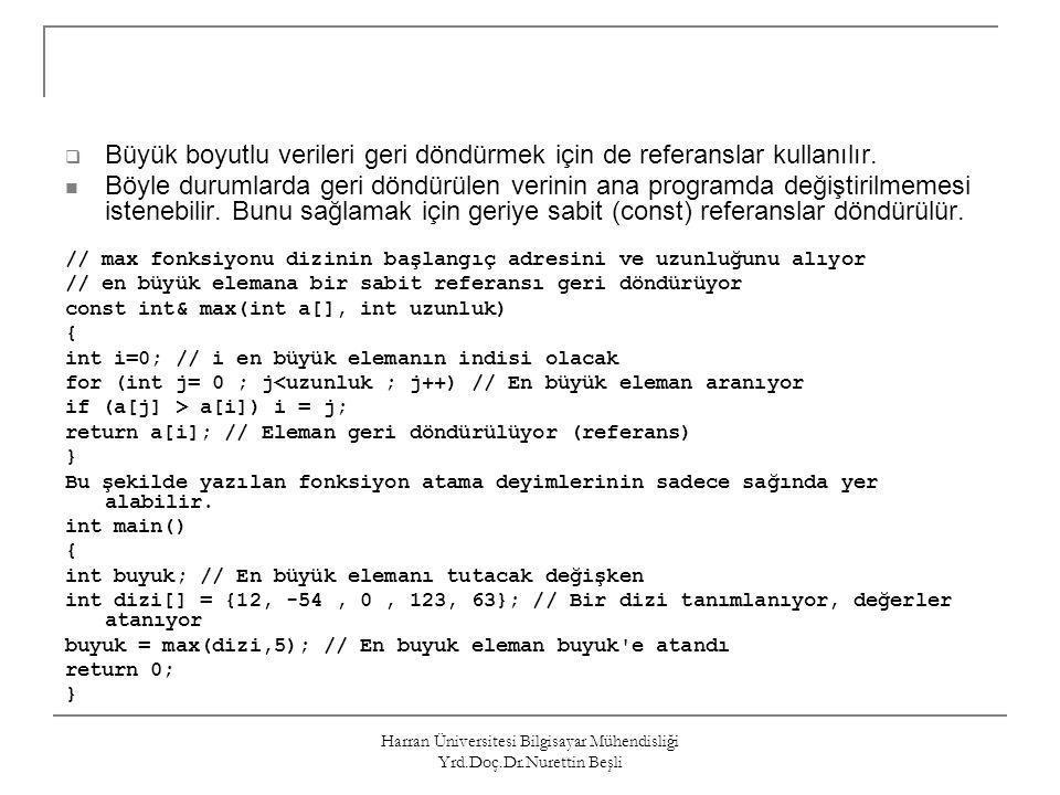 Harran Üniversitesi Bilgisayar Mühendisliği Yrd.Doç.Dr.Nurettin Beşli  Büyük boyutlu verileri geri döndürmek için de referanslar kullanılır. Böyle du