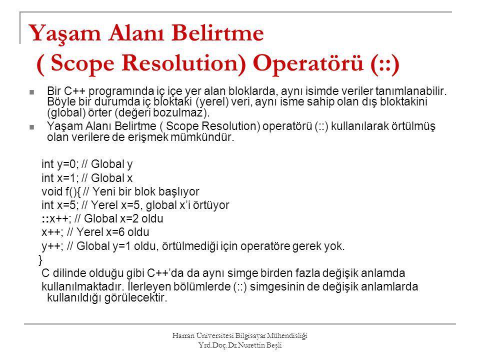 Harran Üniversitesi Bilgisayar Mühendisliği Yrd.Doç.Dr.Nurettin Beşli Yaşam Alanı Belirtme ( Scope Resolution) Operatörü (::) Bir C++ programında iç i