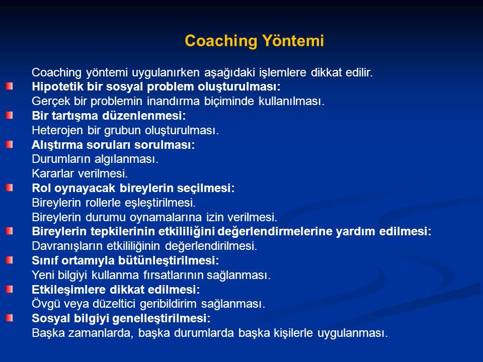 Coaching Yöntemi Coaching yöntemi uygulanırken aşağıdaki işlemlere dikkat edilir.