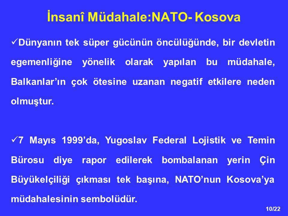 10/22 İnsanî Müdahale:NATO- Kosova Dünyanın tek süper gücünün öncülüğünde, bir devletin egemenliğine yönelik olarak yapılan bu müdahale, Balkanlar'ın