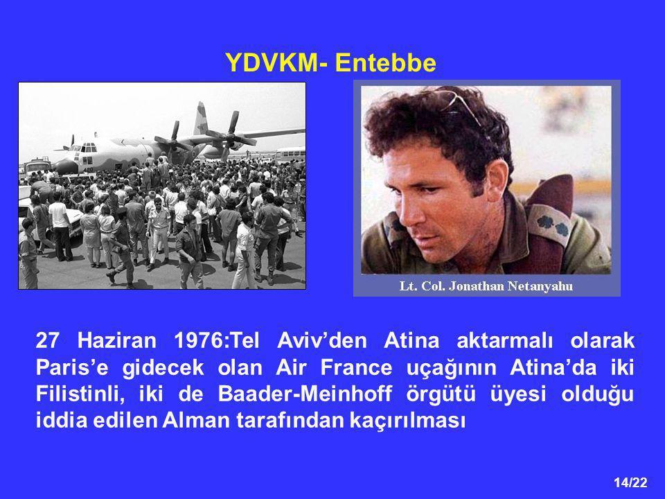 14/22 YDVKM- Entebbe 27 Haziran 1976:Tel Aviv'den Atina aktarmalı olarak Paris'e gidecek olan Air France uçağının Atina'da iki Filistinli, iki de Baad