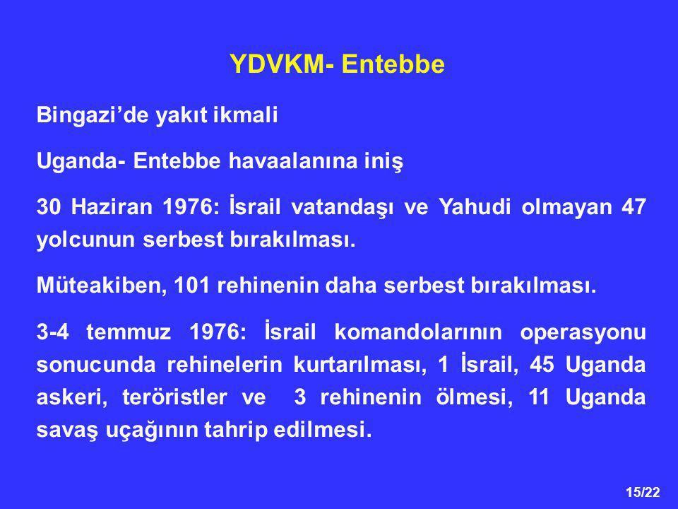 15/22 YDVKM- Entebbe Bingazi'de yakıt ikmali Uganda- Entebbe havaalanına iniş 30 Haziran 1976: İsrail vatandaşı ve Yahudi olmayan 47 yolcunun serbest