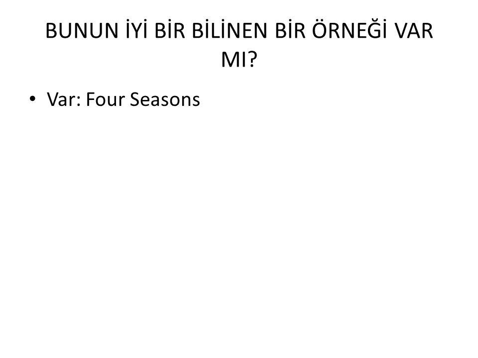 BUNUN İYİ BİR BİLİNEN BİR ÖRNEĞİ VAR MI? Var: Four Seasons