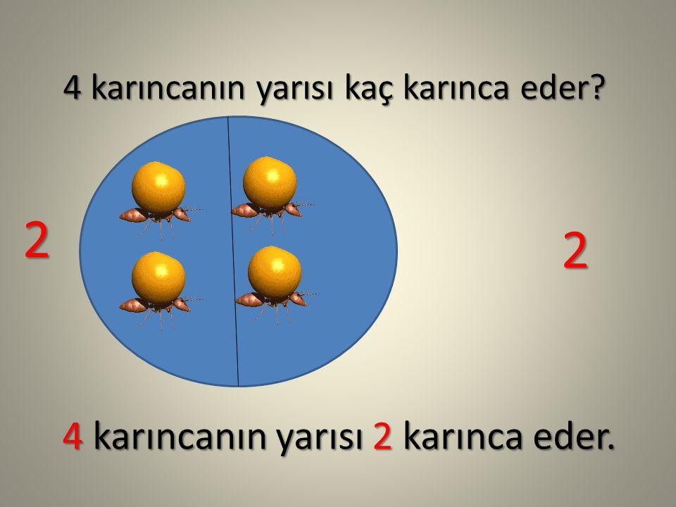 4 karıncanın yarısı kaç karınca eder? 4 karıncanın yarısı 2 karınca eder. 2 2