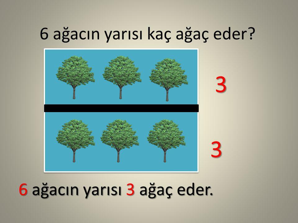 6 ağacın yarısı kaç ağaç eder? 6 ağacın yarısı 3 ağaç eder. 3 3