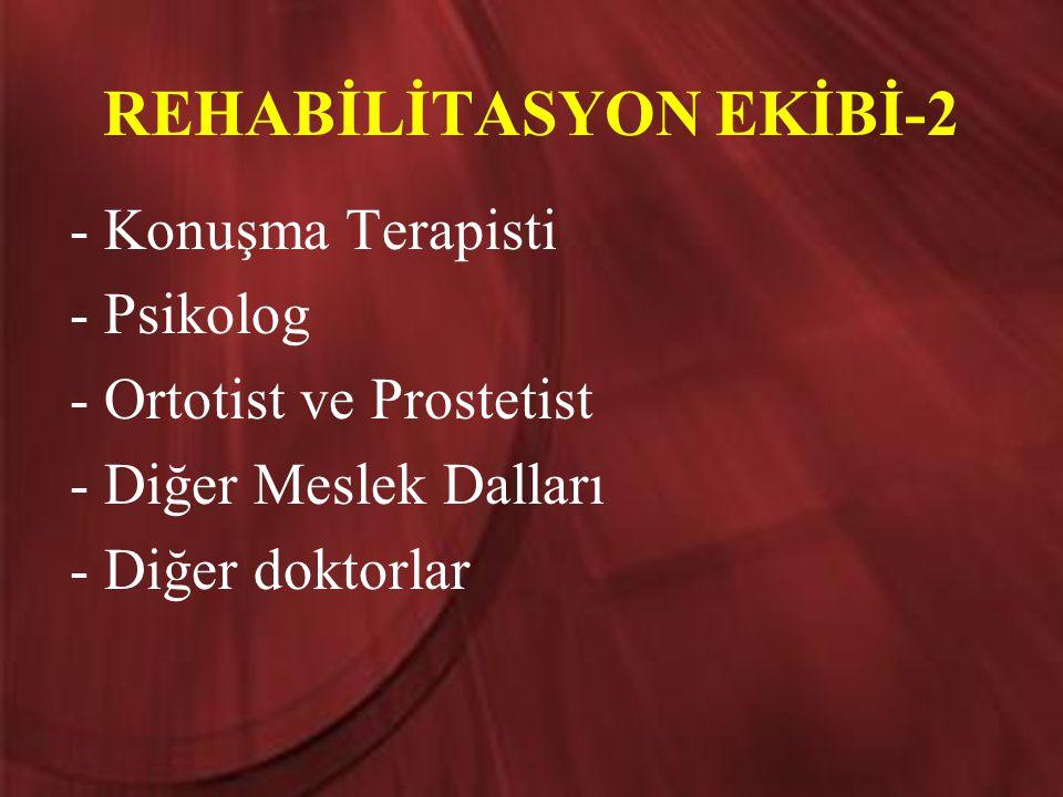 REHABİLİTASYON EKİBİ-2 - Konuşma Terapisti - Psikolog - Ortotist ve Prostetist - Diğer Meslek Dalları - Diğer doktorlar