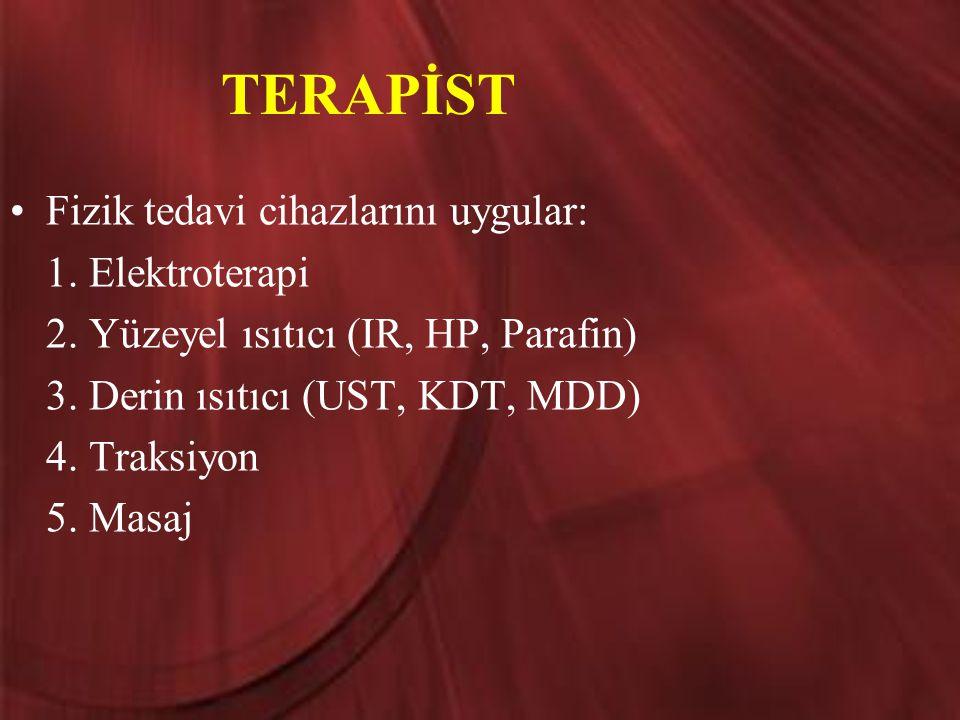 TERAPİST Fizik tedavi cihazlarını uygular: 1. Elektroterapi 2. Yüzeyel ısıtıcı (IR, HP, Parafin) 3. Derin ısıtıcı (UST, KDT, MDD) 4. Traksiyon 5. Masa