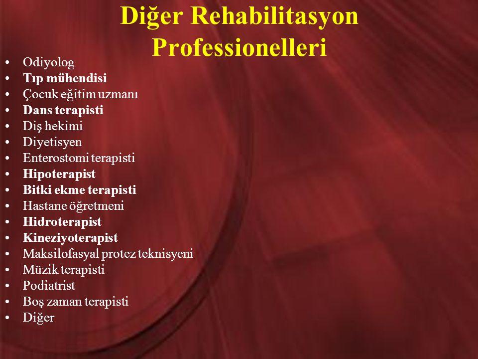 Diğer Rehabilitasyon Professionelleri Odiyolog Tıp mühendisi Çocuk eğitim uzmanı Dans terapisti Diş hekimi Diyetisyen Enterostomi terapisti Hipoterapi
