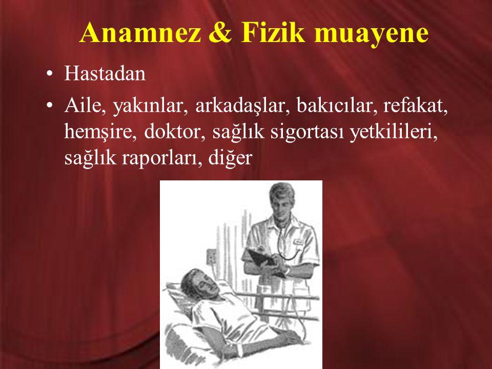 Anamnez & Fizik muayene Hastadan Aile, yakınlar, arkadaşlar, bakıcılar, refakat, hemşire, doktor, sağlık sigortası yetkilileri, sağlık raporları, diğe