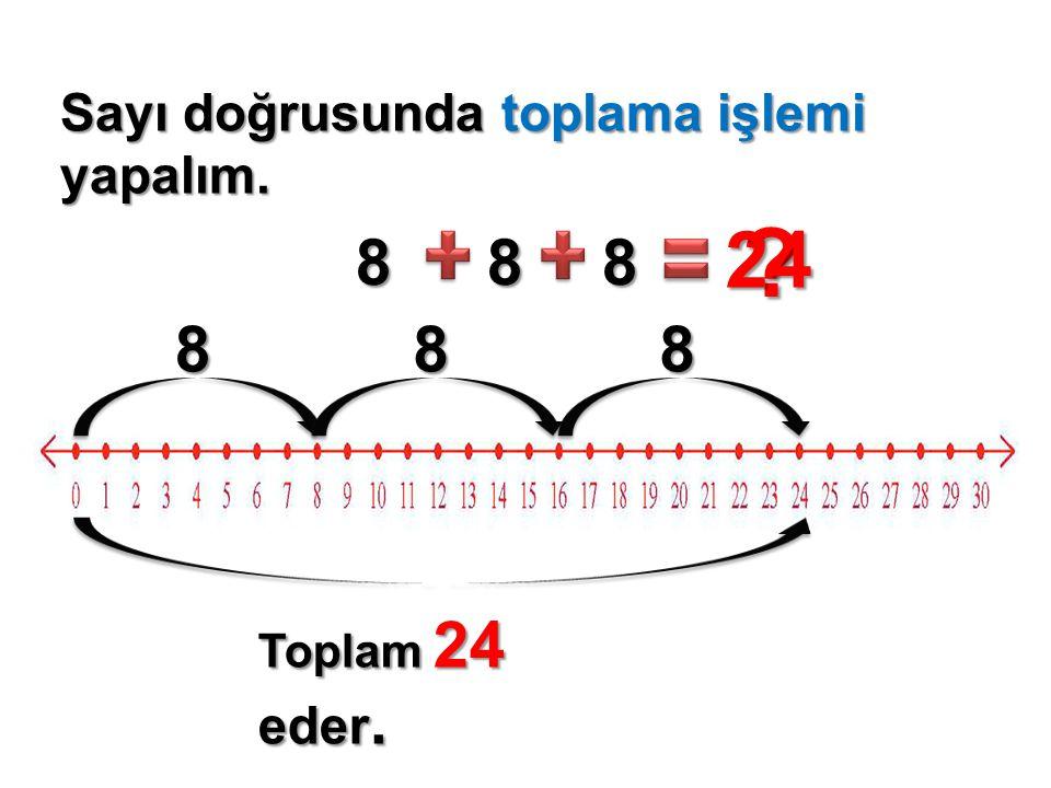 Sayı doğrusunda toplama işlemi yapalım. 88 ? 8 24 888 Toplam 24 eder.