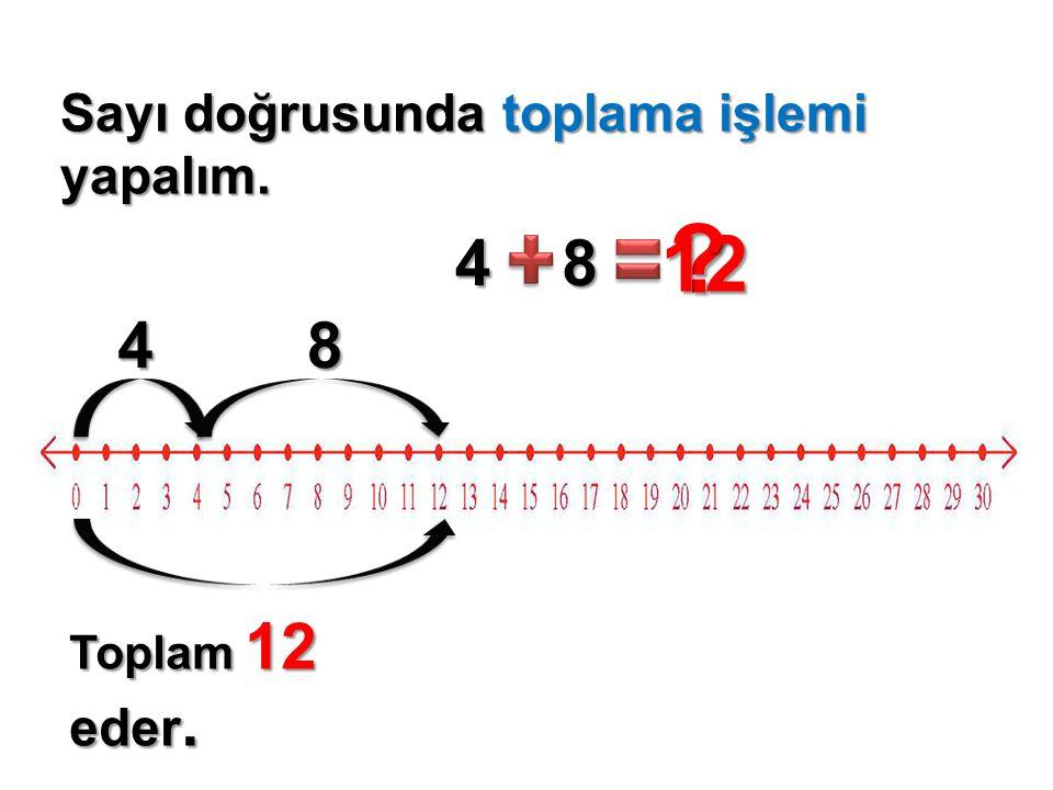 Sayı doğrusunda toplama işlemi yapalım. 48 ? 12 48 Toplam 12 eder.