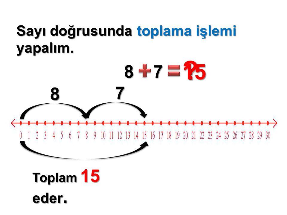 Sayı doğrusunda toplama işlemi yapalım. 56 ? 9 14 5 6 9 Toplam 20 eder.