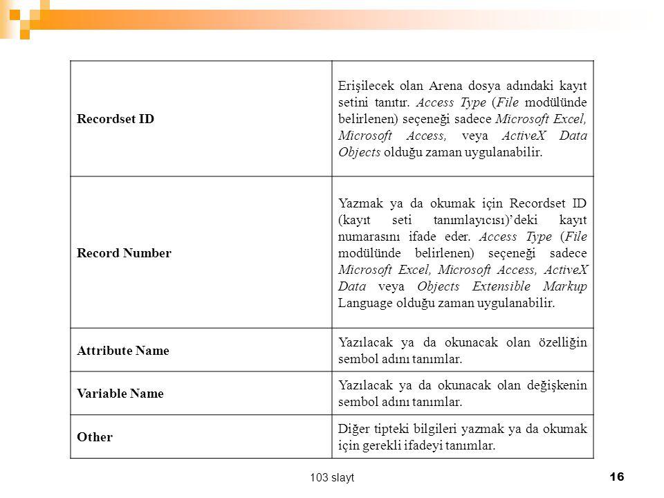 103 slayt 16 Recordset ID Erişilecek olan Arena dosya adındaki kayıt setini tanıtır. Access Type (File modülünde belirlenen) seçeneği sadece Microsoft