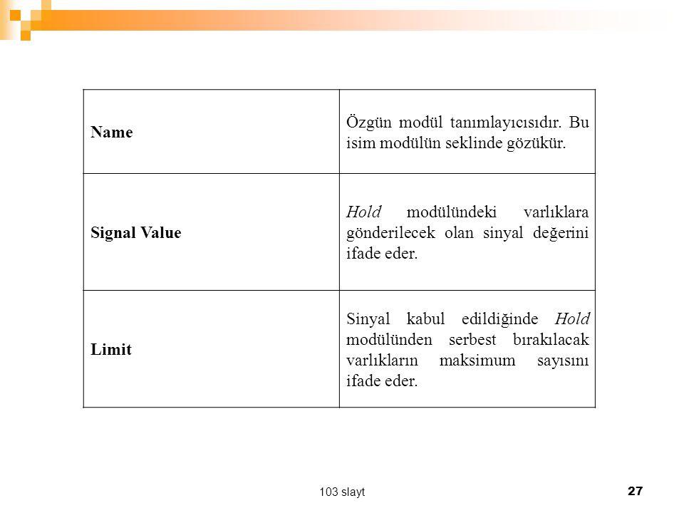103 slayt 27 Name Özgün modül tanımlayıcısıdır. Bu isim modülün seklinde gözükür. Signal Value Hold modülündeki varlıklara gönderilecek olan sinyal de
