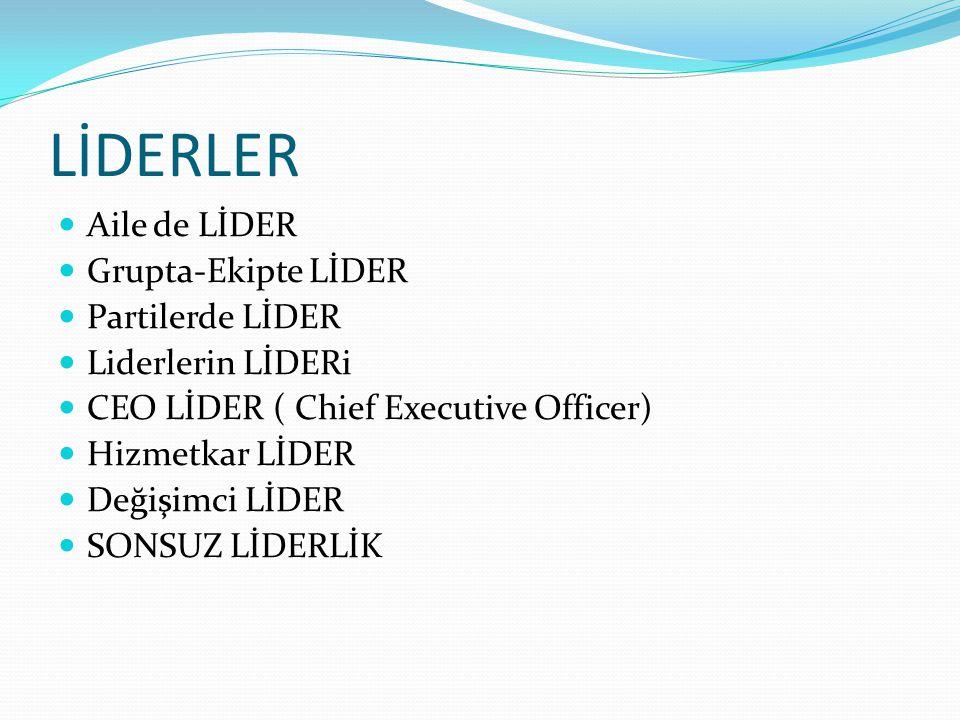 LİDERLER Aile de LİDER Grupta-Ekipte LİDER Partilerde LİDER Liderlerin LİDERi CEO LİDER ( Chief Executive Officer) Hizmetkar LİDER Değişimci LİDER SONSUZ LİDERLİK