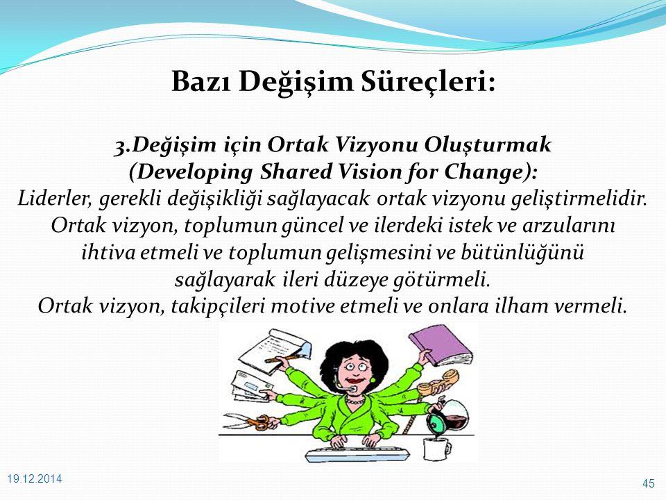 45 19.12.2014 Bazı Değişim Süreçleri: 3.Değişim için Ortak Vizyonu Oluşturmak (Developing Shared Vision for Change): Liderler, gerekli değişikliği sağlayacak ortak vizyonu geliştirmelidir.