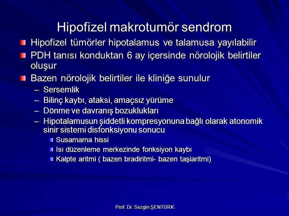 Prof. Dr. Sezgin ŞENTÜRK Hipofizel makrotumör sendrom Hipofizel tümörler hipotalamus ve talamusa yayılabilir PDH tanısı konduktan 6 ay içersinde nörol