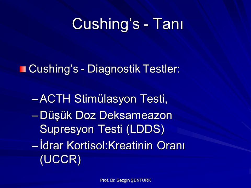 Cushing's - Tanı Cushing's - Tanı Cushing's - Diagnostik Testler: –ACTH Stimülasyon Testi, –Düşük Doz Deksameazon Supresyon Testi (LDDS) –İdrar Kortisol:Kreatinin Oranı (UCCR)
