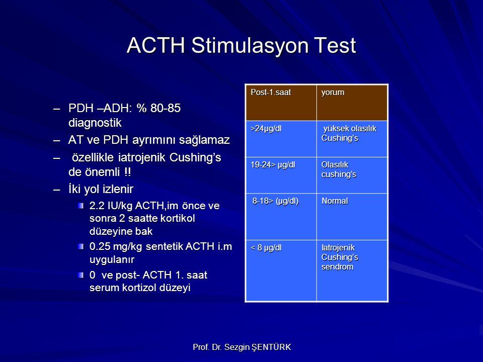 Prof. Dr. Sezgin ŞENTÜRK ACTH Stimulasyon Test –PDH –ADH: % 80-85 diagnostik –AT ve PDH ayrımını sağlamaz – özellikle iatrojenik Cushing's de önemli !
