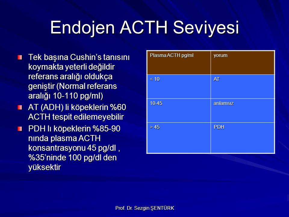 Prof. Dr. Sezgin ŞENTÜRK Endojen ACTH Seviyesi Tek başına Cushin's tanısını koymakta yeterli değildir referans aralığı oldukça geniştir (Normal refera
