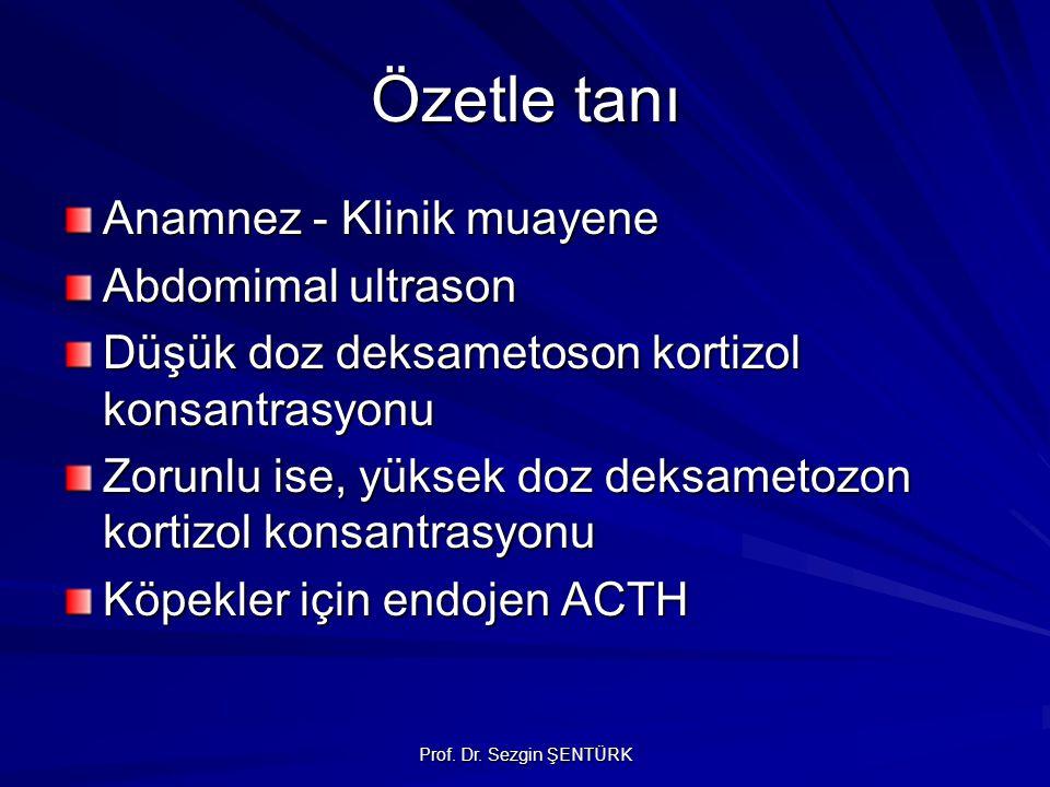 Prof. Dr. Sezgin ŞENTÜRK Özetle tanı Anamnez - Klinik muayene Abdomimal ultrason Düşük doz deksametoson kortizol konsantrasyonu Zorunlu ise, yüksek do