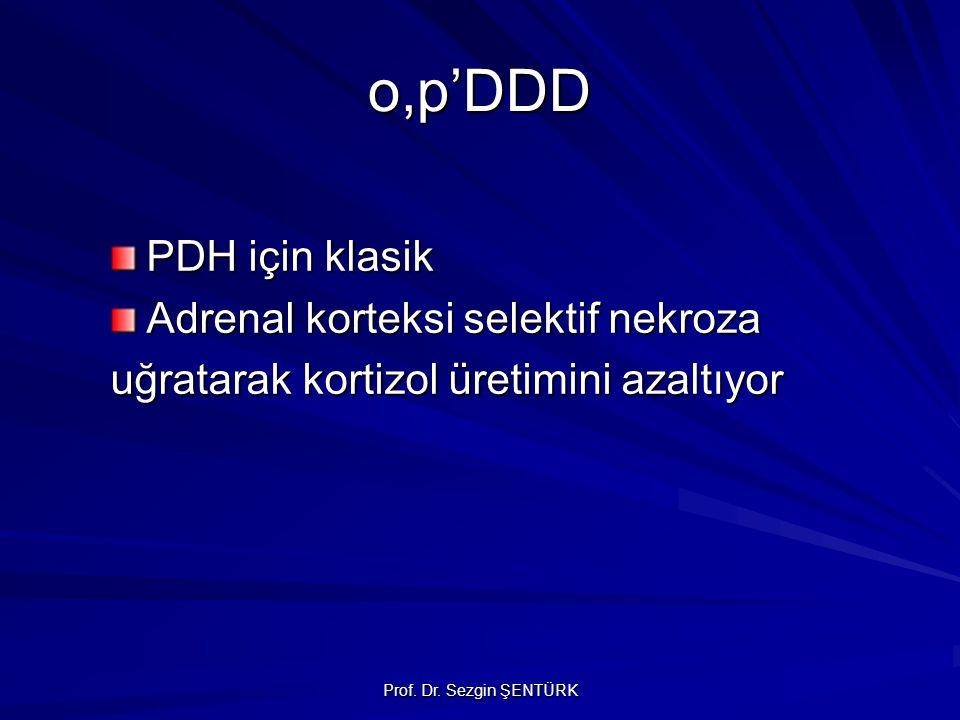 Prof. Dr. Sezgin ŞENTÜRK o,p'DDD PDH için klasik Adrenal korteksi selektif nekroza uğratarak kortizol üretimini azaltıyor
