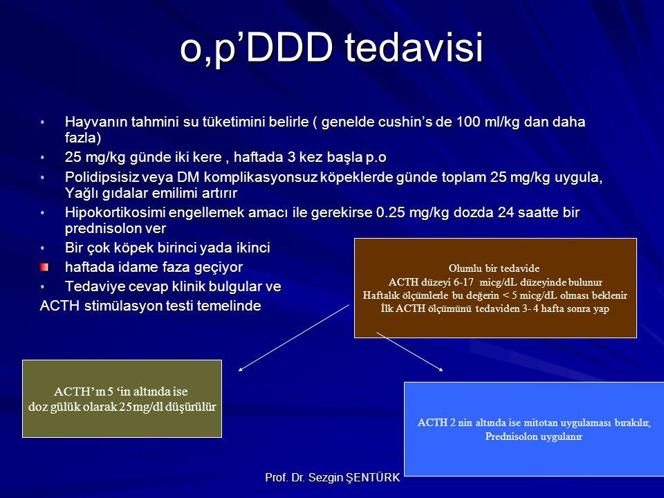 Prof. Dr. Sezgin ŞENTÜRK o,p'DDD tedavisi Hayvanın tahmini su tüketimini belirle ( genelde cushin's de 100 ml/kg dan daha fazla) Hayvanın tahmini su t
