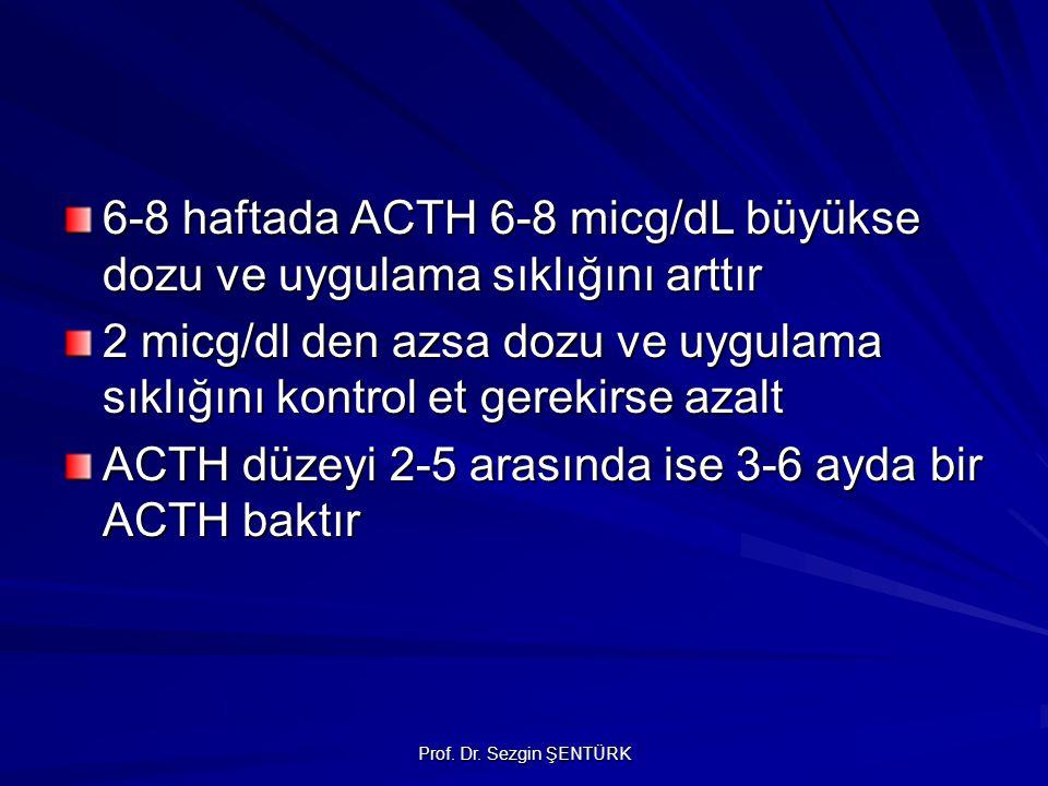 Prof. Dr. Sezgin ŞENTÜRK 6-8 haftada ACTH 6-8 micg/dL büyükse dozu ve uygulama sıklığını arttır 2 micg/dl den azsa dozu ve uygulama sıklığını kontrol
