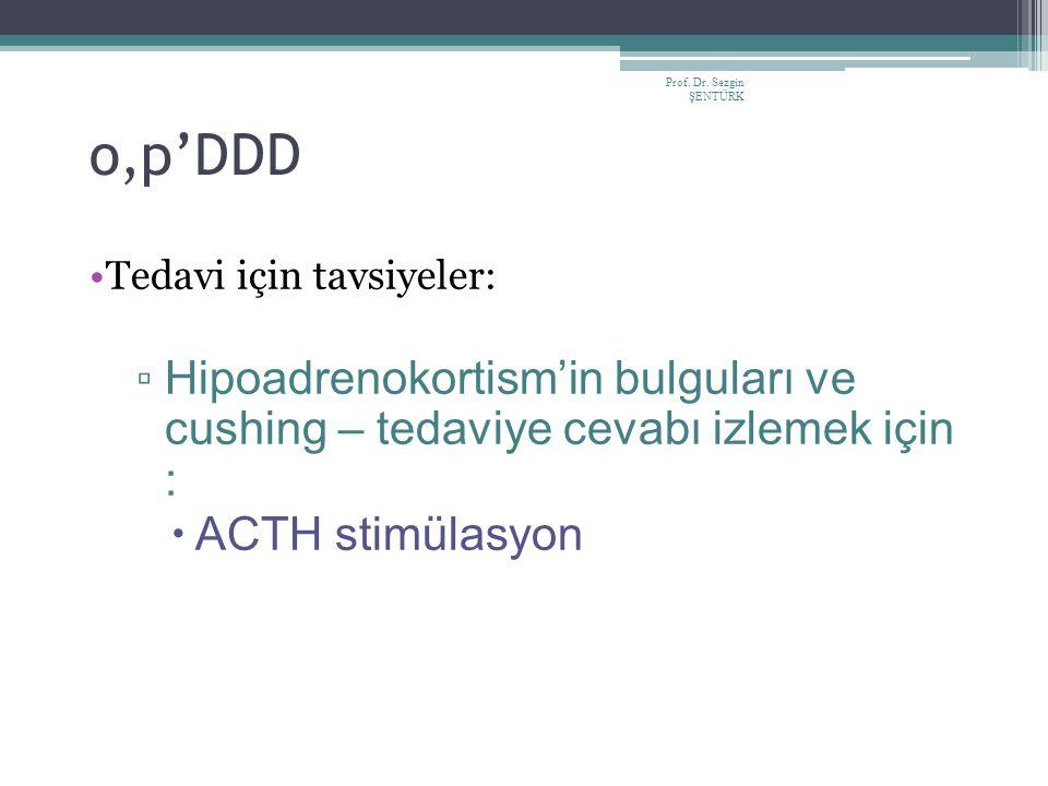 Prof. Dr. Sezgin ŞENTÜRK o,p'DDD Tedavi için tavsiyeler: ▫ Hipoadrenokortism'in bulguları ve cushing – tedaviye cevabı izlemek için :  ACTH stimülasy